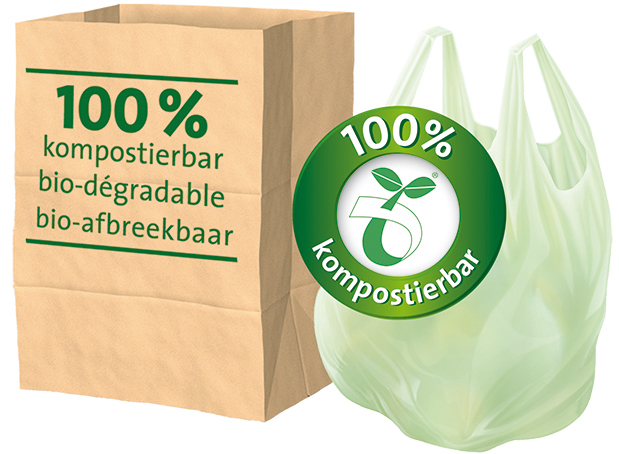 Eco-film organic waste bags with handles
